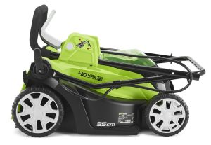 Folded greenworks lawnmower