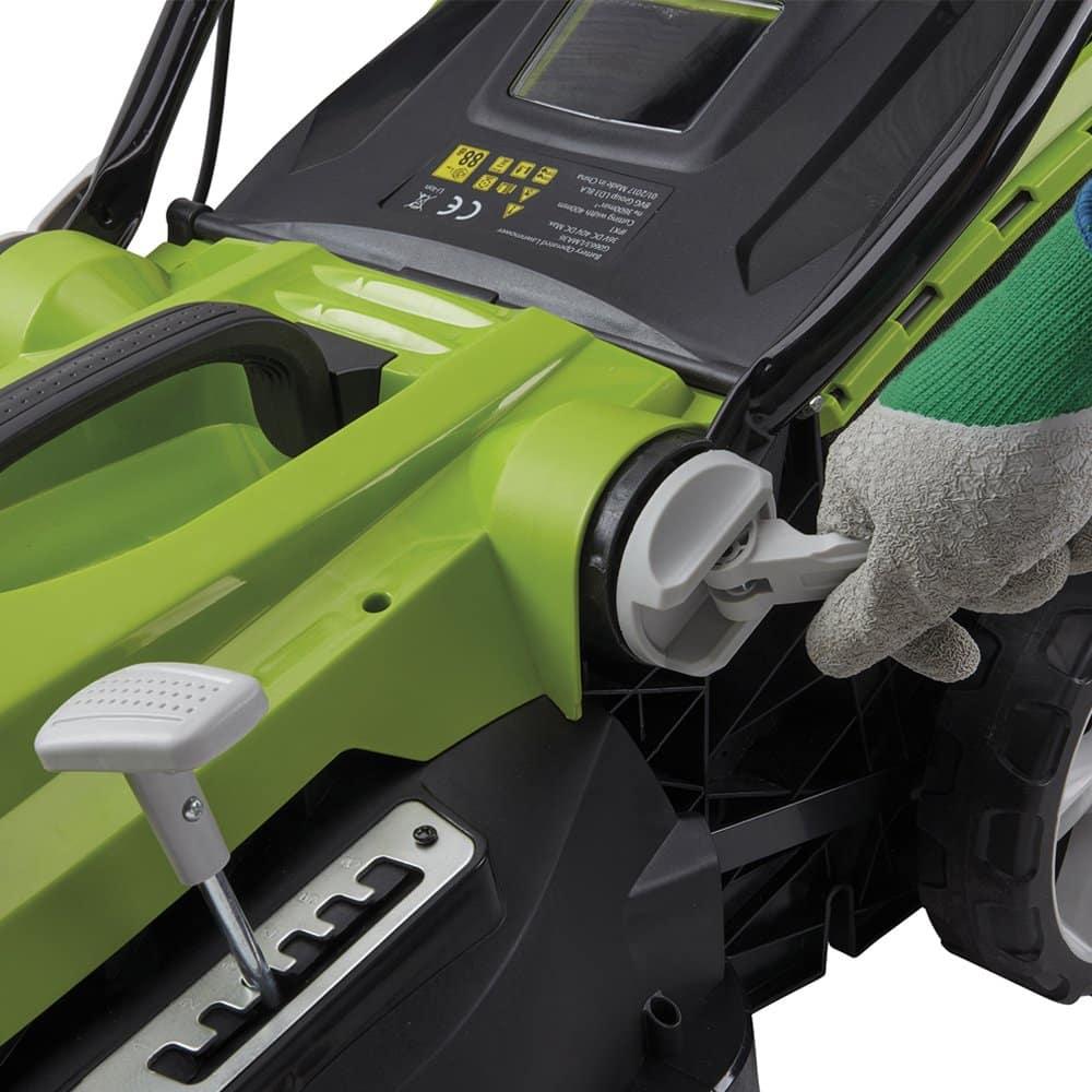 Aerotek cordless lawnmower cutting height lever