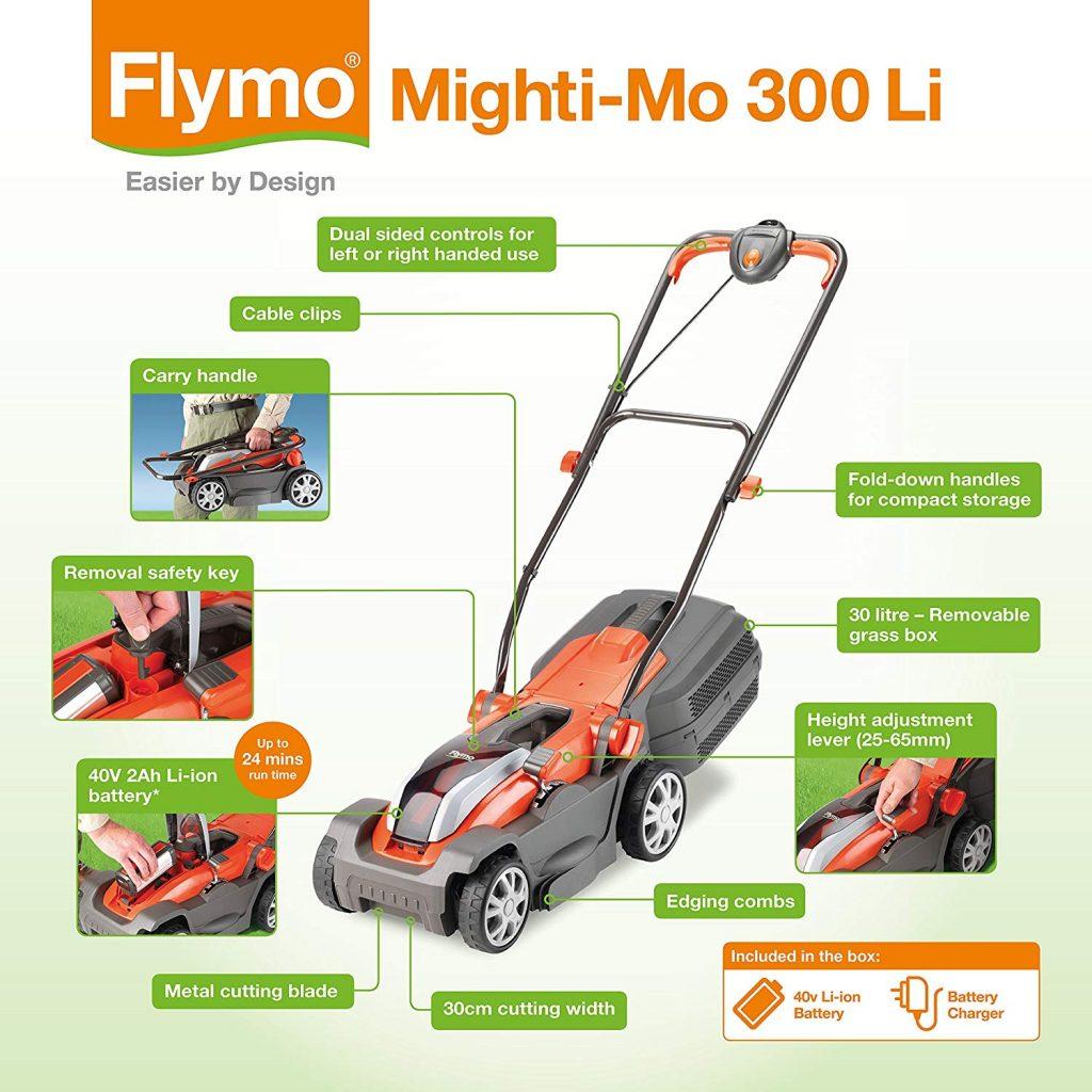 Flymo Mighti-Mo 300 cordless mower UK